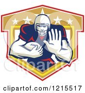 Clipart Of A Running Back American Football Player Holding Out A Hand Over A Shield Royalty Free Vector Illustration