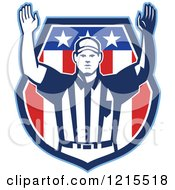 Clipart Of A Retro American Football Referee Holding His Arms Up For Touchdown Royalty Free Vector Illustration by patrimonio