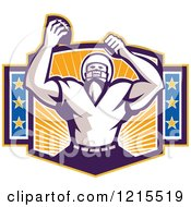 Clipart Of A Wide Receiver American Football Player Cheering After A Touchdown Royalty Free Vector Illustration