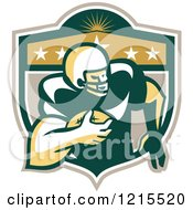 Clipart Of A Wide Receiver American Football Player Running In A Crest Shield Royalty Free Vector Illustration