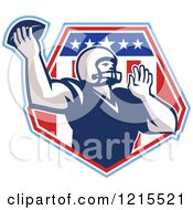 Clipart Of A Quaterback American Football Player Throwing Over A Patriotic Crest Shield Royalty Free Vector Illustration