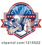 Clipart Of A Running Quaterback American Football Player In A Patriotic Crest Shield Royalty Free Vector Illustration