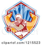 Clipart Of A Quaterback American Football Player In A Shield Royalty Free Vector Illustration