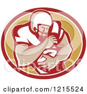 Clipart Of A Running Back American Football Player Over An Oval Royalty Free Vector Illustration