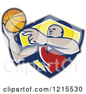 Clipart Of A African American Basketball Player Throwing A Ball Royalty Free Vector Illustration