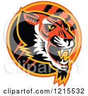 Clipart Of A Growling Tiger Head In A Circle With Slash Marks Royalty Free Vector Illustration by patrimonio
