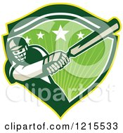 Clipart Of A Batsman Cricket Player Swinging In A Green Shield With Stars And Sunshine Royalty Free Vector Illustration