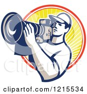 Clipart Of A Retro Cameraman Filming Over A Circle Of Sunshine Royalty Free Vector Illustration
