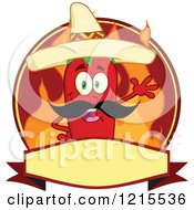 Clipart Of A Waving Mexican Red Chili Pepper Character And Flames On A Label Royalty Free Vector Illustration by Hit Toon