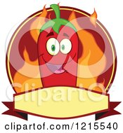 Clipart Of A Red Chili Pepper Character And Flames On A Label Royalty Free Vector Illustration