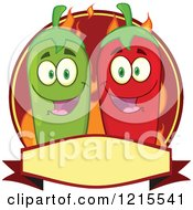 Clipart Of Happy Green And Red Chili Peppers Over Flames On A Label Royalty Free Vector Illustration by Hit Toon