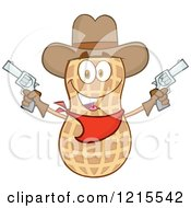 Clipart Of A Cowboy Peanut Character Holding Up Two Revolvers Royalty Free Vector Illustration by Hit Toon