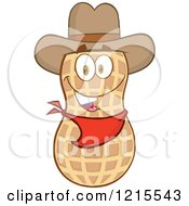 Clipart Of A Cowboy Peanut Character Royalty Free Vector Illustration