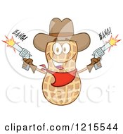 Clipart Of A Cowboy Peanut Character Shooting Two Revolvers Royalty Free Vector Illustration