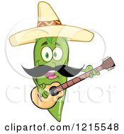 Clipart Of A Green Chili Pepper Character Guitarist With A Mustache Wearing A Mexican Sombrero Hat Royalty Free Vector Illustration