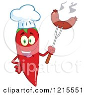 Clipart Of A Red Hot Chili Pepper Character Chef Holding Up A Sausage Royalty Free Vector Illustration by Hit Toon