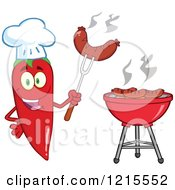 Clipart Of A Red Hot Chili Pepper Character Chef Holding Up A Sausage By A Bbq Royalty Free Vector Illustration by Hit Toon