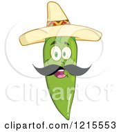 Clipart Of A Happy Green Chili Pepper Character With A Mustache Wearing A Mexican Sombrero Hat Royalty Free Vector Illustration