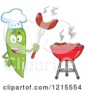 Clipart Of A Happy Green Chili Pepper Chef Character With A Sausage Over A Bbq Royalty Free Vector Illustration by Hit Toon