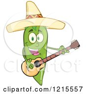 Clipart Of A Green Chili Pepper Character Guitarist Wearing A Mexican Sombrero Hat Royalty Free Vector Illustration