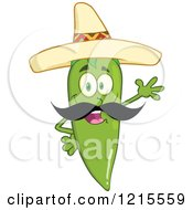 Clipart Of A Waving Green Chili Pepper Character Wearing A Mexican Sombrero Hat Royalty Free Vector Illustration