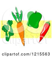 Broccoli A Carrot Bell Pepper And Chili Over Yellow Zig Zags