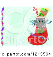 Angel Mouse Over A Christmas Stocking With Copy Space