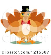 Happy Turkey Bird Wearing A Pilgrim Hat