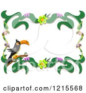 Clipart Of A Toucan And Floral Border Royalty Free Vector Illustration by bpearth