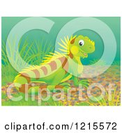 Clipart Of A Cute Happy Iguana Lizard In Nature Royalty Free Illustration by Alex Bannykh