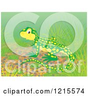 Clipart Of A Cute Happy Newt In Nature Royalty Free Illustration by Alex Bannykh