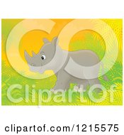 Clipart Of A Cute Happy Rhino In Nature Royalty Free Illustration by Alex Bannykh