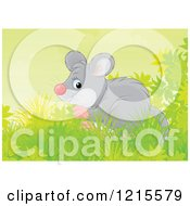 Clipart Of A Cute Happy Mouse In Nature Royalty Free Illustration