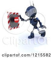 Clipart Of A 3d Blue Android Robot Reaching For A Warning Button Royalty Free Illustration