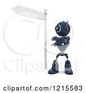 Clipart Of A 3d Blue Android Robot Pointing Under A Street Sign Royalty Free Illustration by KJ Pargeter