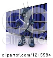 Clipart Of A 3d Blue Android Robot Reading A Book In A Library Royalty Free Illustration