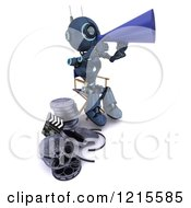 Clipart Of A 3d Blue Android Robot Movie Director Using A Cone Royalty Free Illustration