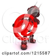 3d Red Android Robot Holding An Arobase Email Symbol