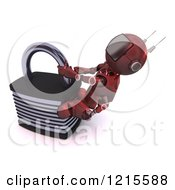 Clipart Of A 3d Red Android Robot Trying To Pry Open A Locked Padlock Royalty Free Illustration