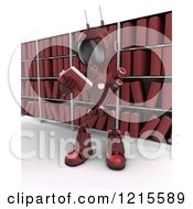 Clipart Of A 3d Red Android Robot Reading A Book In A Library Royalty Free Illustration
