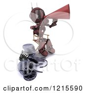 Clipart Of A 3d Red Android Robot Movie Director Using A Cone Royalty Free Illustration