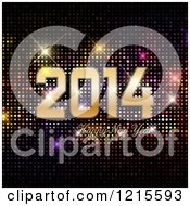Clipart Of A 2014 Happy New Year Greeting Over Colorful Sparkly Lights Royalty Free Vector Illustration