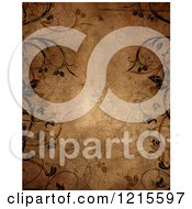 Clipart Of A Brown Grunge Paper Background Bordered With Vines And Flourishes Royalty Free Illustration