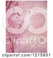 Clipart Of A Pink Grunge Background With Vines Butterflies And Flourishes Royalty Free Illustration