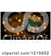 Clipart Of A 3d Halloween Globe With Stars Bats And Witches Royalty Free Illustration