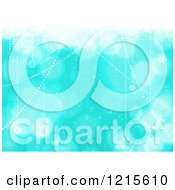 Clipart Of A Blue Christmas Background With Suspended Swinging Stars And Flares Royalty Free Vector Illustration