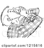 Retro Vector Clipart Of A Vintage Teenage Boy Pouring Food In His Mouth In Black And White Royalty Free Illustration
