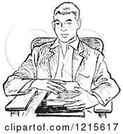 Retro Vector Clipart Of A Vintage Teenage School Boy With Books At A Desk In Black And White Royalty Free Illustration