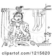 Retro Vector Clipart Of A Vintage Teen Girl Washing Her Face In Black And White Royalty Free Illustration