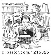 Retro Vector Clipart Of Vintage Teenage Girls Gossiping Behind A Boy Covering His Ears In A Library In Black And White Royalty Free Illustration